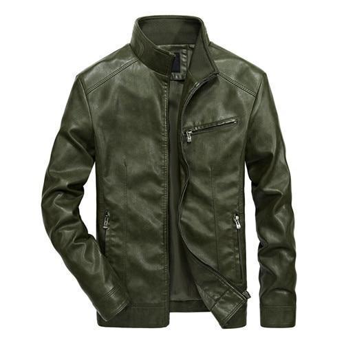 Men Solid Casual Biker Leather Jacket - Pilot Jacket-Green-XXL-JadeMoghul Inc.