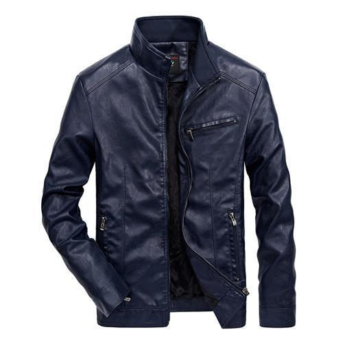 Men Solid Casual Biker Leather Jacket - Pilot Jacket-Navyblue-XXL-JadeMoghul Inc.