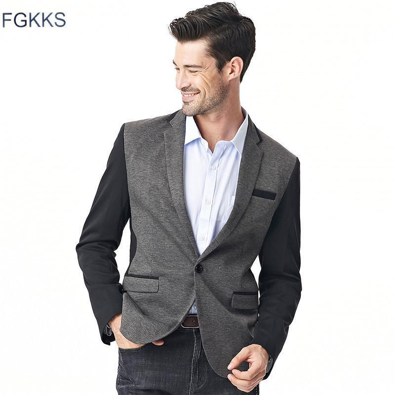 Men Solid Color Casual Suit Jacket-Dark gray-M-JadeMoghul Inc.