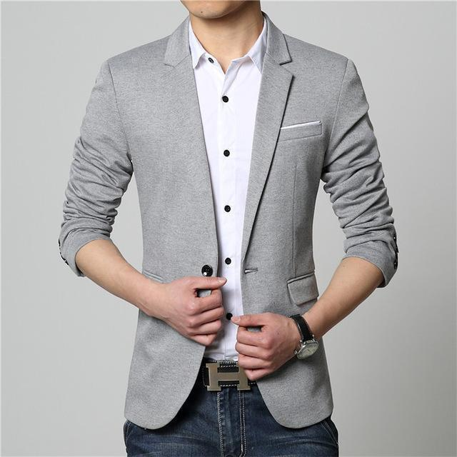 Men Solid Color Casual Suit Jacket-Gray-M-JadeMoghul Inc.
