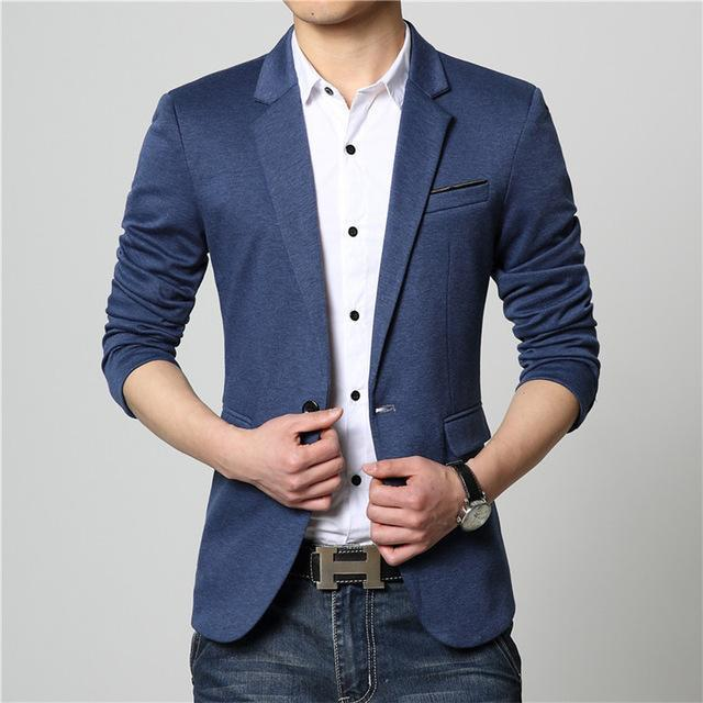 Men Solid Color Casual Suit Jacket-Navy-M-JadeMoghul Inc.
