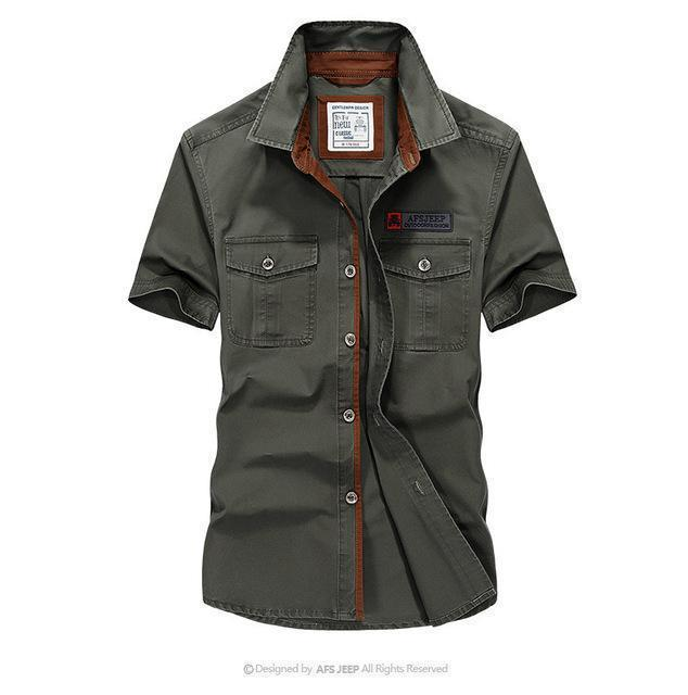 Men Solid Military Short Sleeves Shirt / Cotton Breathable Army Shirt-army green-S-JadeMoghul Inc.
