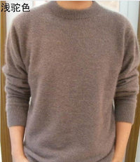 Men Solid Winter Pullover / Full Sleeves O-Neck Cashmere Sweater-Khaki-S-JadeMoghul Inc.