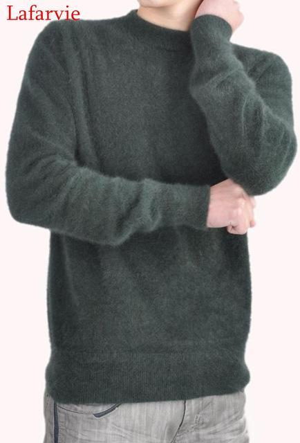 Men Solid Winter Pullover / Full Sleeves O-Neck Cashmere Sweater-mo green-S-JadeMoghul Inc.