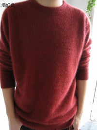 Men Solid Winter Pullover / Full Sleeves O-Neck Cashmere Sweater-wine red-S-JadeMoghul Inc.