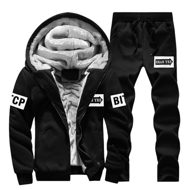 Men Sportswear Hoodies / Casual Sweatshirt / Tracksuit Sets-D80 Black-M-JadeMoghul Inc.