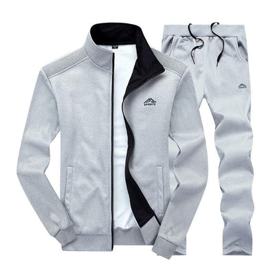 Men Sportswear Set - Men's Sporting Fitness Clothing (2Pcs Long Sleeve Jacket & Pants)-LY003 light-grey-S-JadeMoghul Inc.