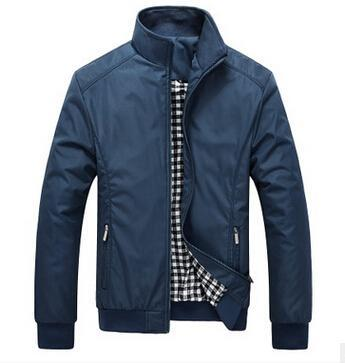 Men Spring / Autumn Jacket With Fashionable Stand Collar / Slim Casual Style Business Jacket-Blue-M-JadeMoghul Inc.
