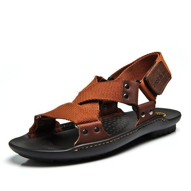 Men Stylish Designer Type Sandals / Leather Slippers For Men-zong se-6.5-JadeMoghul Inc.