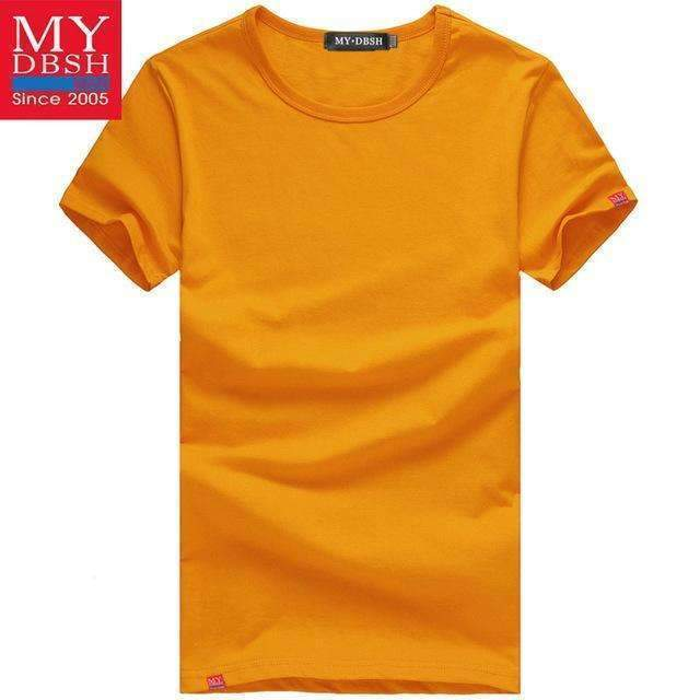 Men Summer Short-Sleeved T Shirt-O Neck Orange-S-JadeMoghul Inc.
