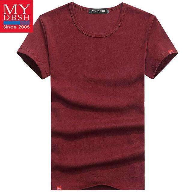 Men Summer Short-Sleeved T Shirt-O Neck Wine-S-JadeMoghul Inc.