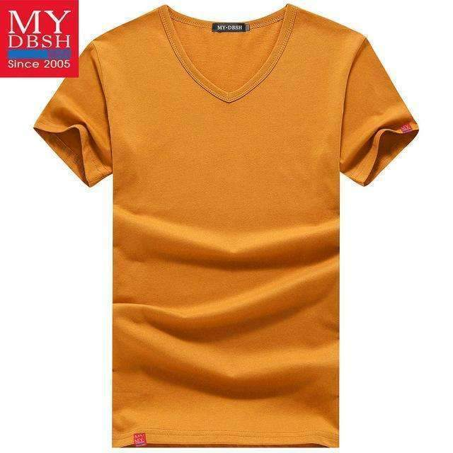 Men Summer Short-Sleeved T Shirt-V Neck Orange-S-JadeMoghul Inc.