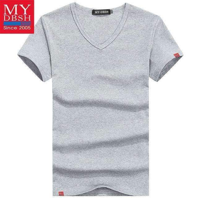 Men Summer Short-Sleeved T Shirt-V Neck Pale Gray-S-JadeMoghul Inc.