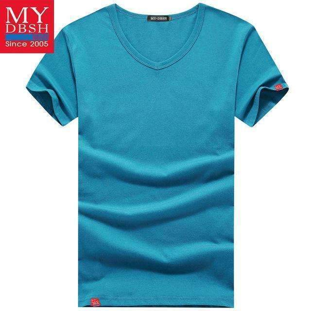 Men Summer Short-Sleeved T Shirt-V Neck Sky-S-JadeMoghul Inc.