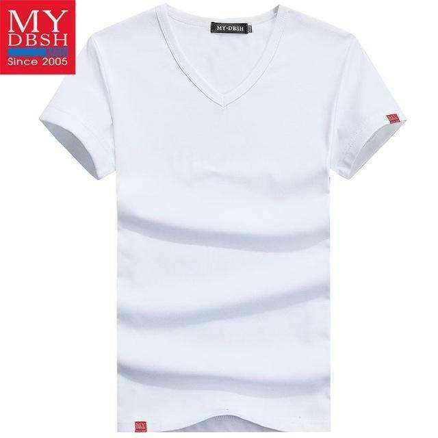 Men Summer Short-Sleeved T Shirt-V Neck White-S-JadeMoghul Inc.