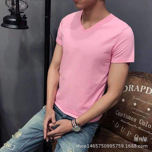 Men Super Comfy Cotton T -Shirt-V Pink-L-JadeMoghul Inc.