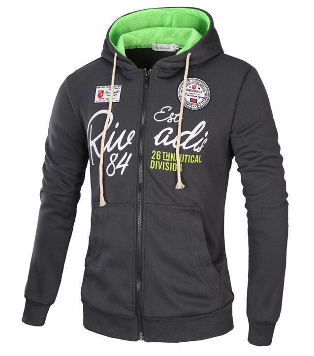 Men Sweatshirt / Zipper Hoodie For Men-Dark gray green-XL-JadeMoghul Inc.