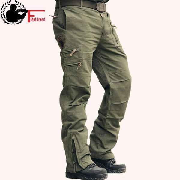 Men Tactical Pants / Airborne Casual Cotton Trouser / Multi Pocket Military Style Camouflage Cargo Pants-Black-28-JadeMoghul Inc.