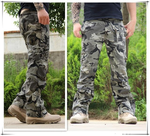 Men Tactical Pants / Airborne Casual Cotton Trouser / Multi Pocket Military Style Camouflage Cargo Pants-CAMOUFLAGE-28-JadeMoghul Inc.