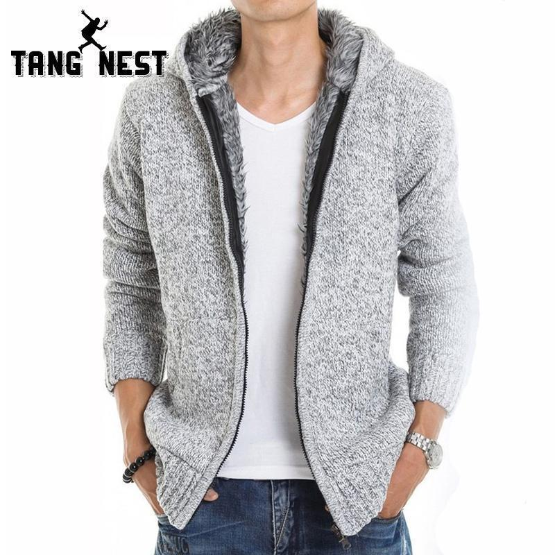Men Thick Hoodie With Fur / All Season Hoodie-Light Gray-M-JadeMoghul Inc.