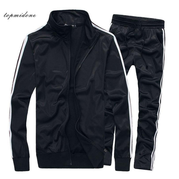 Men Track Suit Set - Sportswear Fitness Set - Thin Striped Tracksuit-White-S-JadeMoghul Inc.