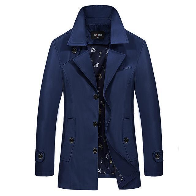 Men Trench Coat - Turn-Down Collar Slim Jacket-dark blue-M-JadeMoghul Inc.