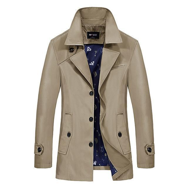 Men Trench Coat - Turn-Down Collar Slim Jacket-dark khaki-M-JadeMoghul Inc.