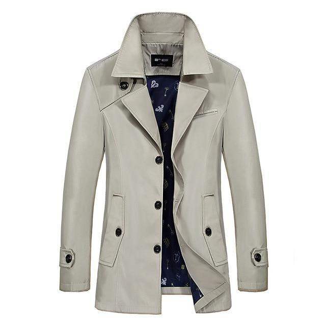 Men Trench Coat - Turn-Down Collar Slim Jacket-light khaki-M-JadeMoghul Inc.