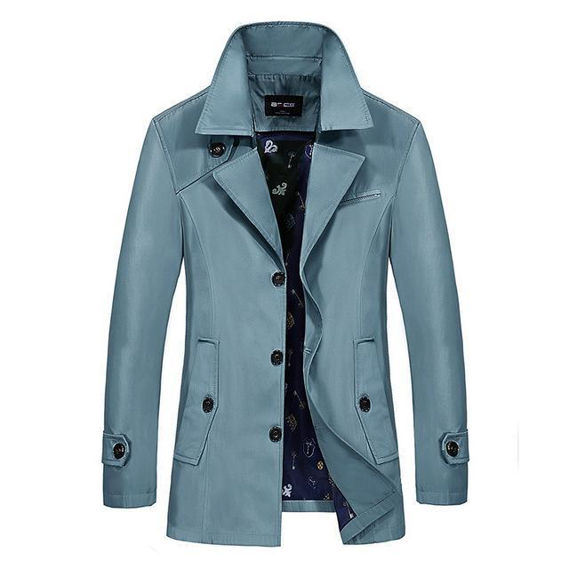 Men Trench Coat - Turn-Down Collar Slim Jacket-sky blue-M-JadeMoghul Inc.