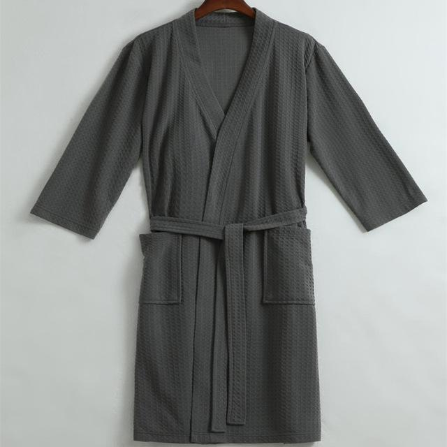 Men Waffle Bath Robe / Cotton Bathrobe / Night Dressing Gown-Gray-M-JadeMoghul Inc.