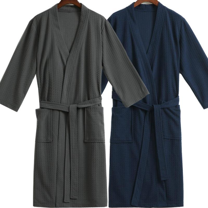 Men Waffle Bath Robe / Cotton Bathrobe / Night Dressing Gown-Navy-M-JadeMoghul Inc.