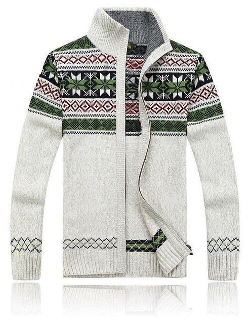 Men Warm Cardigan / Men Winter & Spring Sweater Tops With Stand Collar-white-XXXL-JadeMoghul Inc.