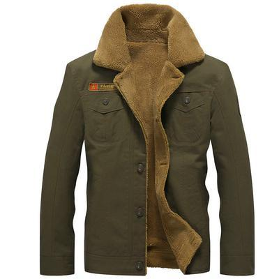 Men Warm Winter Jacket Air Force Style With Fur Collar-Army Green-M-JadeMoghul Inc.