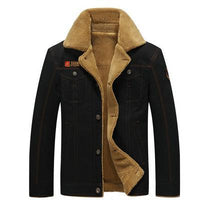 Men Warm Winter Jacket Air Force Style With Fur Collar-Dark Blue-M-JadeMoghul Inc.
