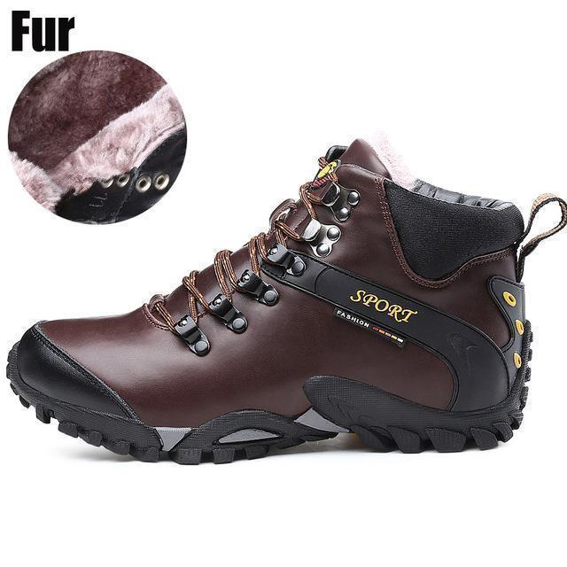 Men Waterproof Footwear Boots / Winter Snow Boots-brown fur 1611-8-JadeMoghul Inc.
