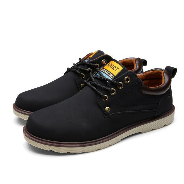 Men Waterproof Solid Lace-up PU Leather Shoes-Black-6-JadeMoghul Inc.
