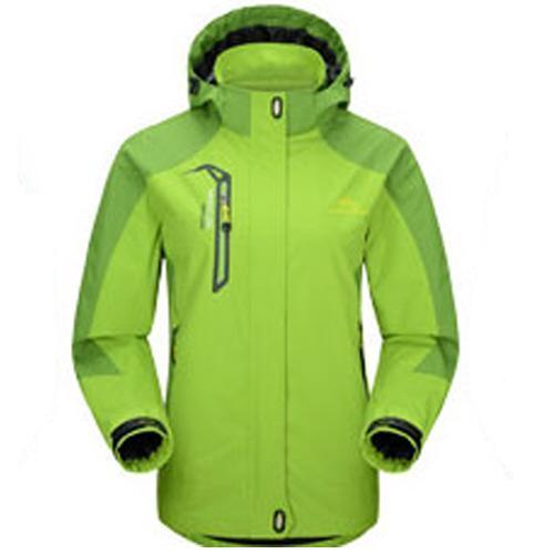 Men Waterproof Spring Hooded Jacket / Men Solid Outerwear-Women Green-M-JadeMoghul Inc.