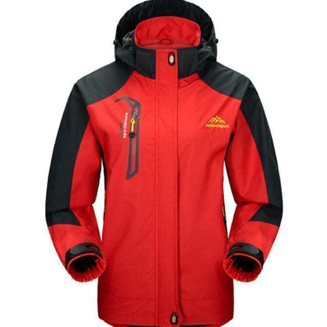 Men Waterproof Spring Hooded Jacket / Men Solid Outerwear-Women Red-M-JadeMoghul Inc.