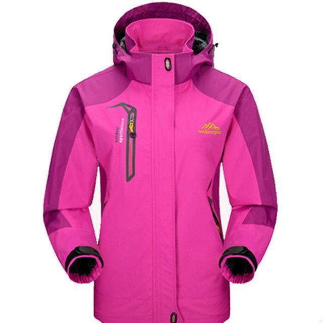 Men Waterproof Spring Hooded Jacket / Men Solid Outerwear-Women Rose Red-M-JadeMoghul Inc.