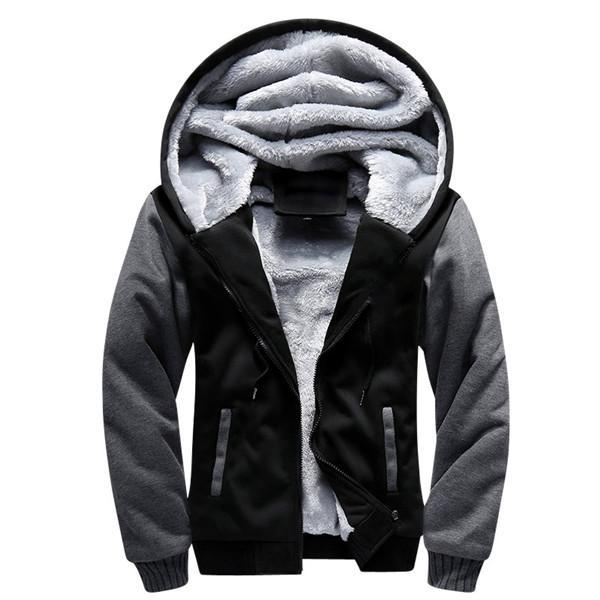 Men Winter Fashion Bomber / Men Vintage Thick Fleece Jacket-W02 black-S-JadeMoghul Inc.