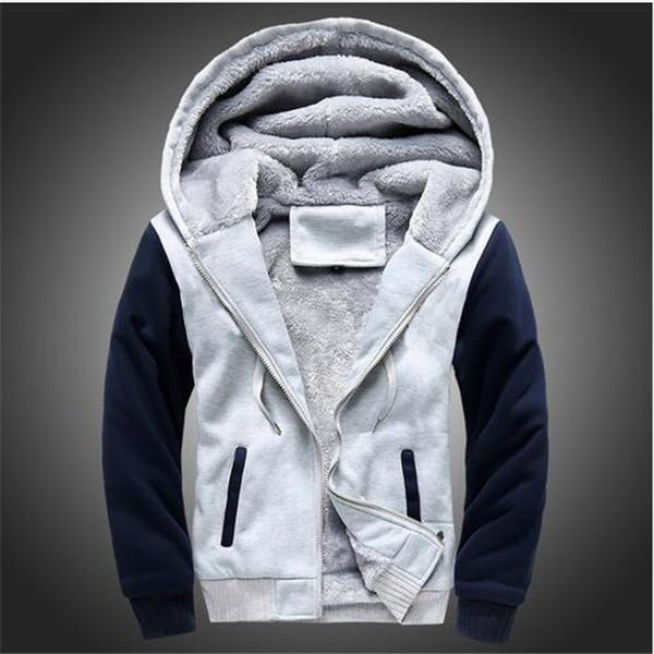Men Winter Fashion Bomber / Men Vintage Thick Fleece Jacket-W02 gray-S-JadeMoghul Inc.
