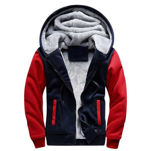 Men Winter Fashion Bomber / Men Vintage Thick Fleece Jacket-W02 red-S-JadeMoghul Inc.