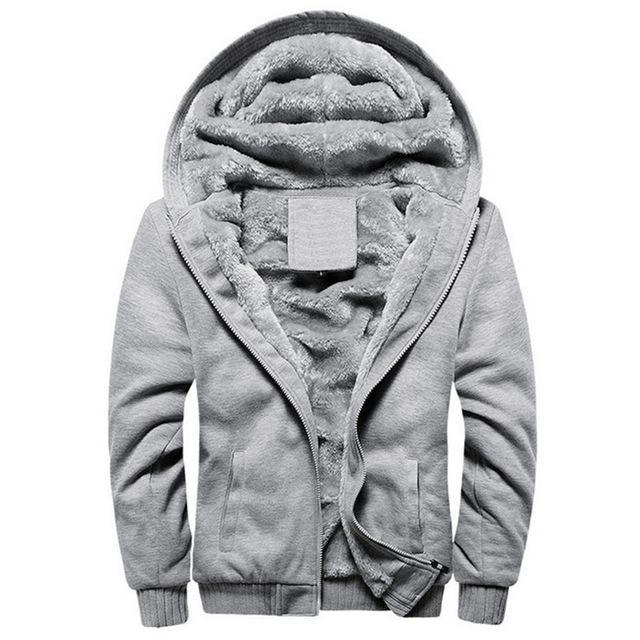 Men Winter Fashion Bomber / Men Vintage Thick Fleece Jacket-w11 gray-S-JadeMoghul Inc.