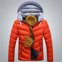 Men Winter Jacket With Detachable Hat / Warm Coat Cotton-Padded Outwear-Red-4XL-JadeMoghul Inc.