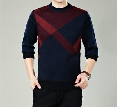 Men Winter Round Neck Knitted Sweaters / Smart Casual Cashmere Blend Pullover-9898 blue-M-JadeMoghul Inc.