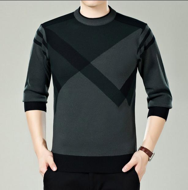 Men Winter Round Neck Knitted Sweaters / Smart Casual Cashmere Blend Pullover-9898 green-M-JadeMoghul Inc.