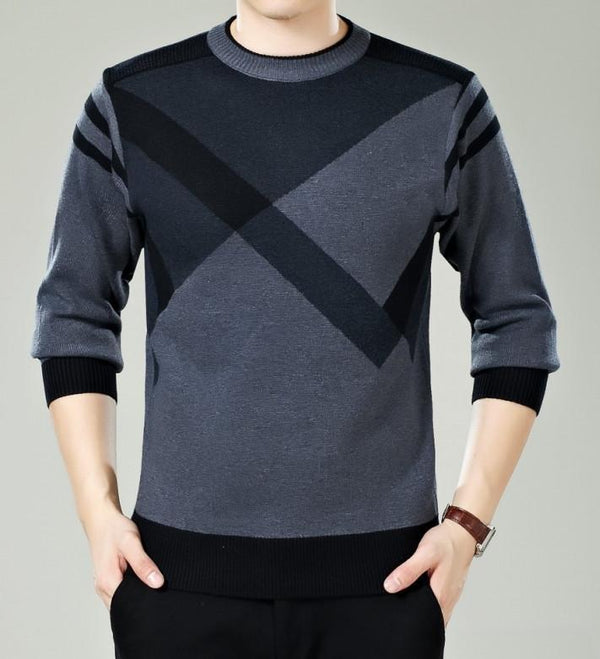 Men Winter Round Neck Knitted Sweaters / Smart Casual Cashmere Blend Pullover-9898 grey-M-JadeMoghul Inc.