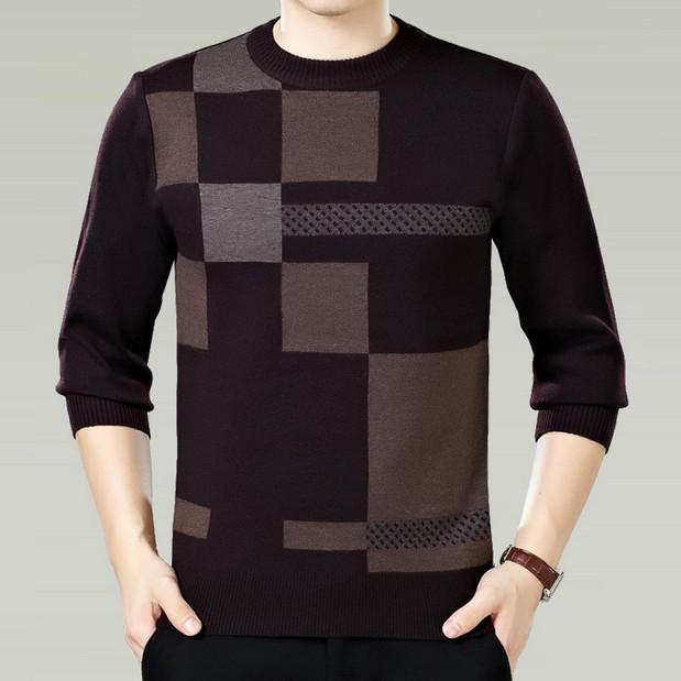 Men Winter Round Neck Knitted Sweaters / Smart Casual Cashmere Blend Pullover-brown-M-JadeMoghul Inc.