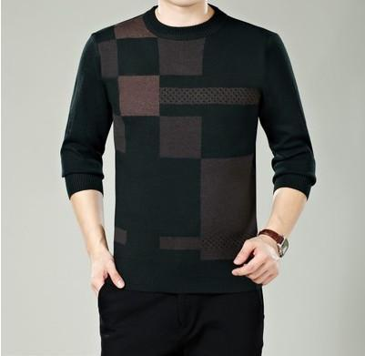 Men Winter Round Neck Knitted Sweaters / Smart Casual Cashmere Blend Pullover-green-M-JadeMoghul Inc.