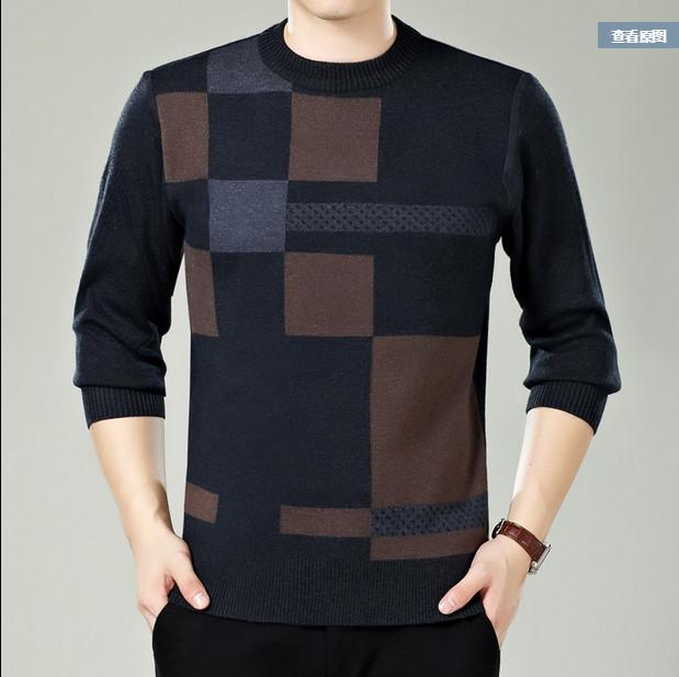 Men Winter Round Neck Knitted Sweaters / Smart Casual Cashmere Blend Pullover-Grey-M-JadeMoghul Inc.